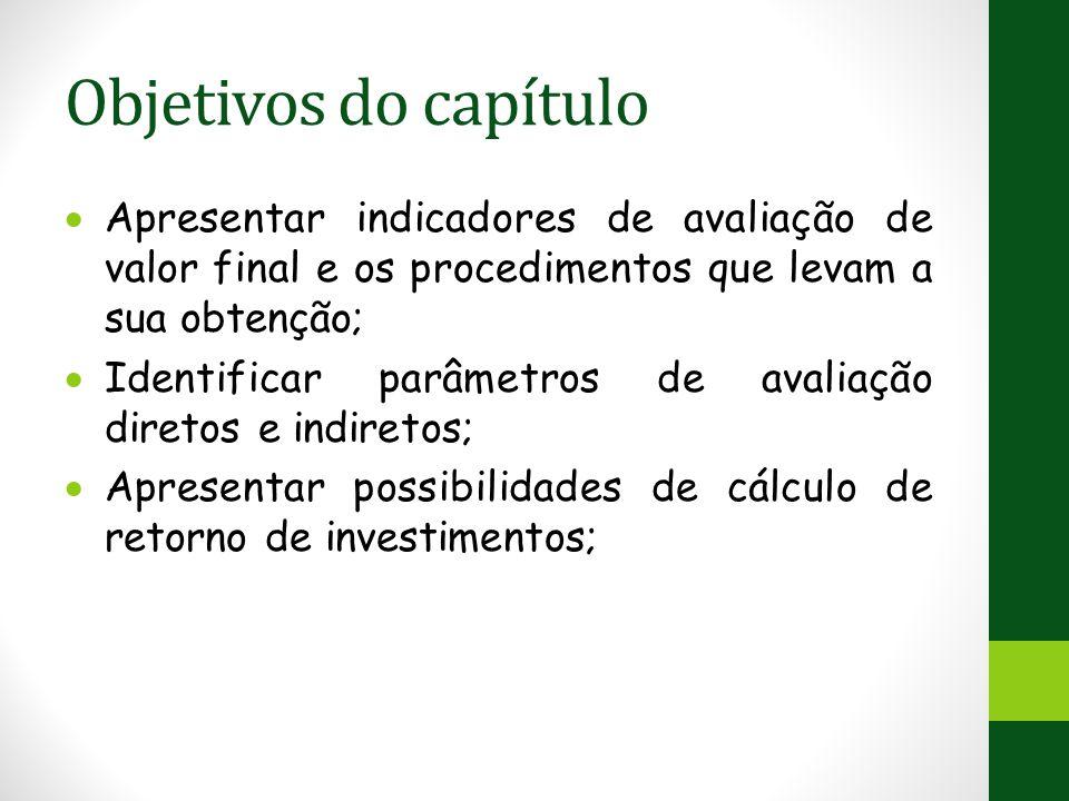 Objetivos do capítulo  Apresentar indicadores de avaliação de valor final e os procedimentos que levam a sua obtenção;  Identificar parâmetros de avaliação diretos e indiretos;  Apresentar possibilidades de cálculo de retorno de investimentos;