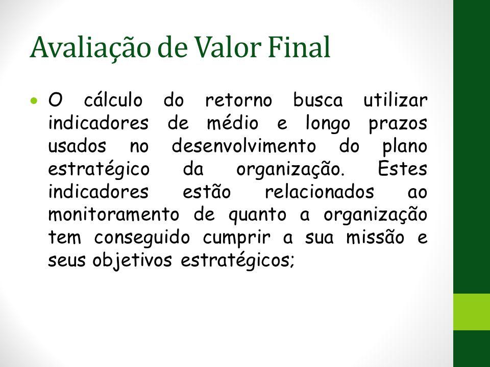 Avaliação de Valor Final  O cálculo do retorno busca utilizar indicadores de médio e longo prazos usados no desenvolvimento do plano estratégico da organização.