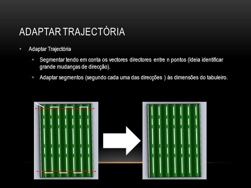 ADAPTAR TRAJECTÓRIA Adaptar Trajectória Segmentar tendo em conta os vectores directores entre n pontos (Ideia identificar grande mudanças de direcção).