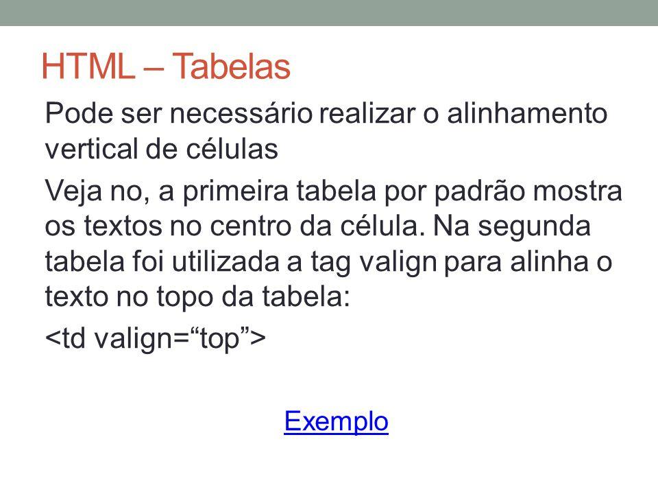 HTML – Tabelas Pode ser necessário realizar o alinhamento vertical de células Veja no, a primeira tabela por padrão mostra os textos no centro da célula.