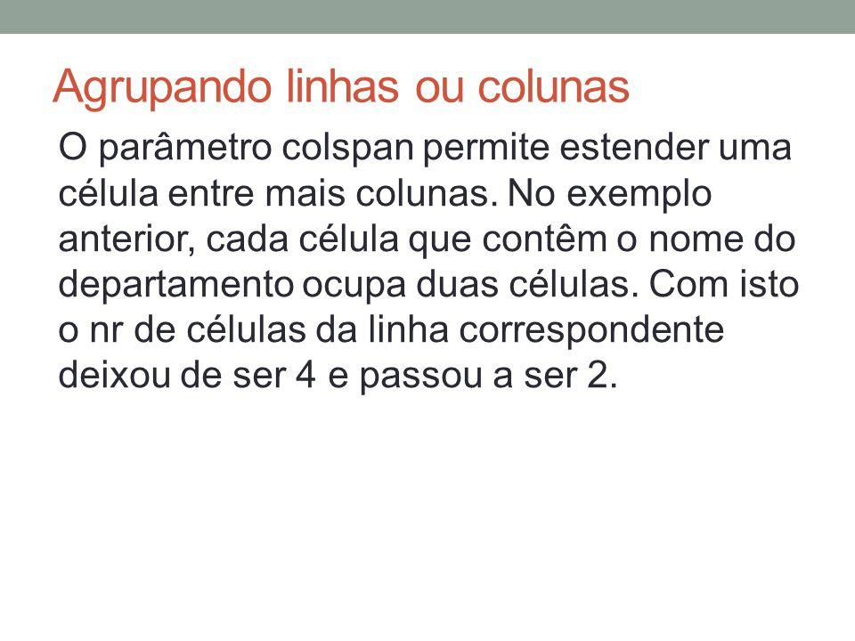Agrupando linhas ou colunas O parâmetro colspan permite estender uma célula entre mais colunas.