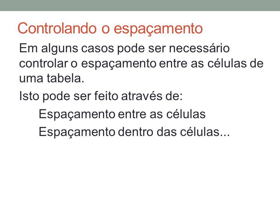 Controlando o espaçamento Em alguns casos pode ser necessário controlar o espaçamento entre as células de uma tabela.
