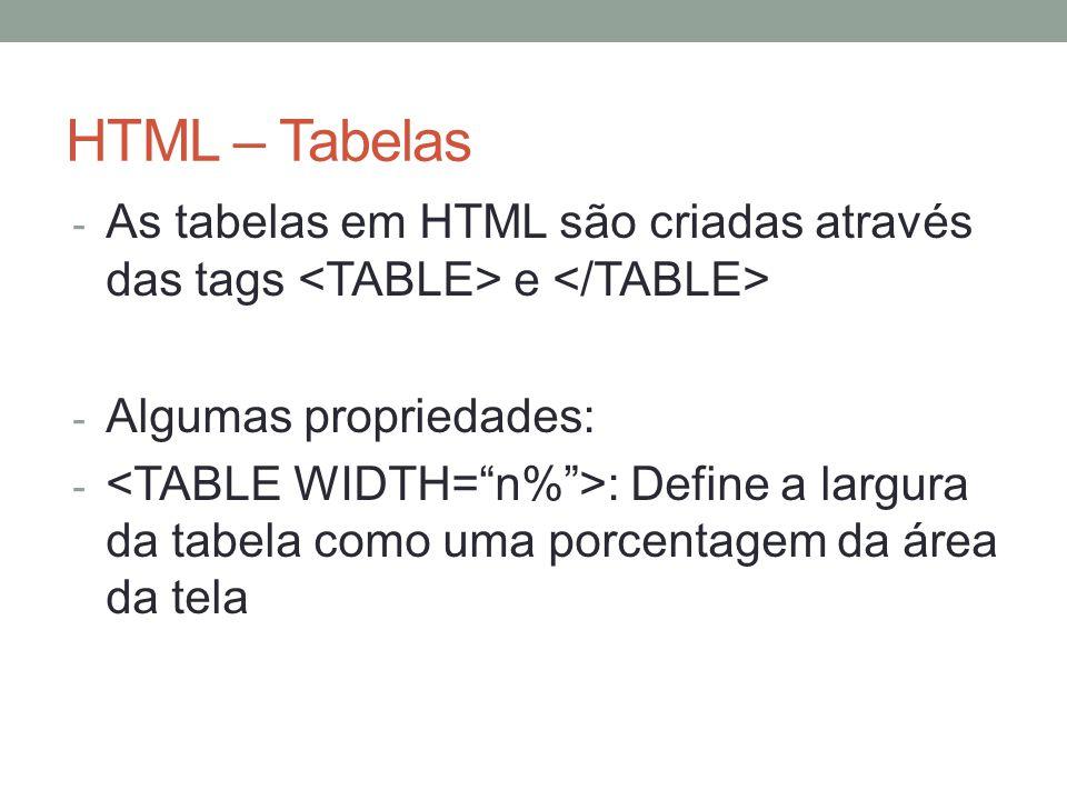 HTML – Tabelas - As tabelas em HTML são criadas através das tags e - Algumas propriedades: - : Define a largura da tabela como uma porcentagem da área da tela