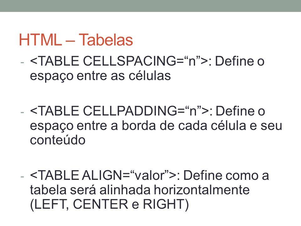 HTML – Tabelas - O título da tabela pode ser definido com a tag - </CAPTION.