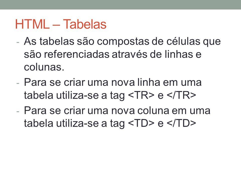 HTML – Tabelas - As tabelas são compostas de células que são referenciadas através de linhas e colunas.