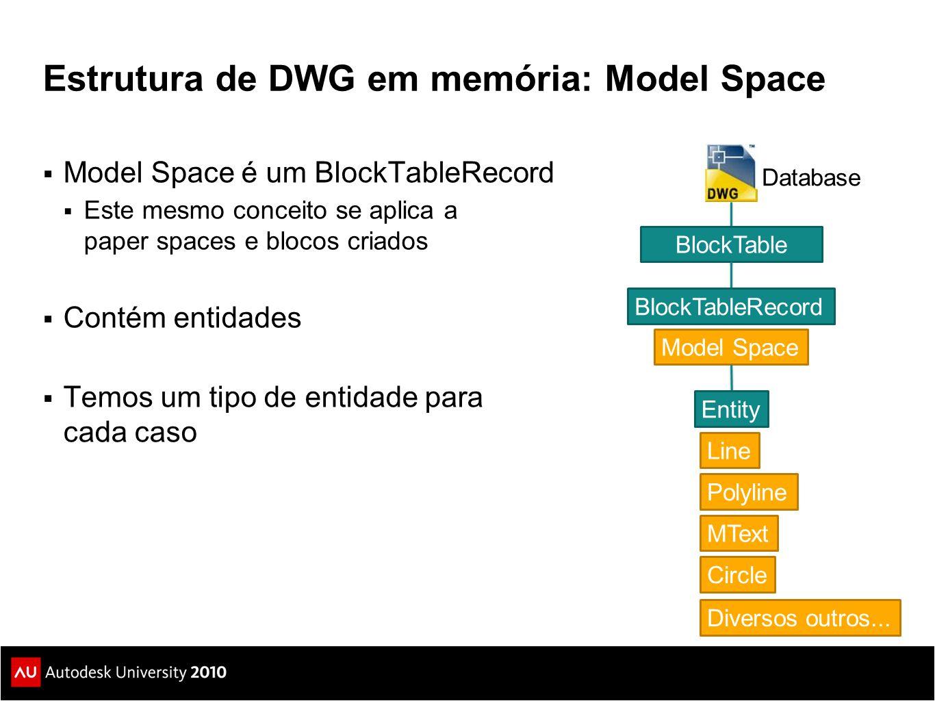 Estrutura de DWG em memória: Model Space  Model Space é um BlockTableRecord  Este mesmo conceito se aplica a paper spaces e blocos criados  Contém