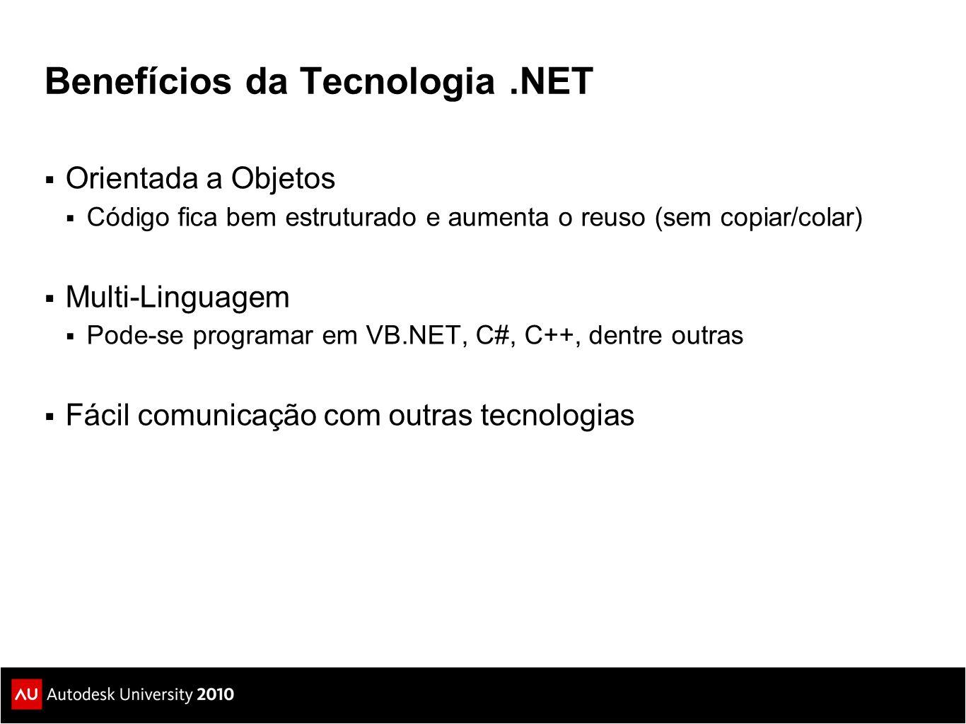 Benefícios da Tecnologia.NET  Orientada a Objetos  Código fica bem estruturado e aumenta o reuso (sem copiar/colar)  Multi-Linguagem  Pode-se programar em VB.NET, C#, C++, dentre outras  Fácil comunicação com outras tecnologias
