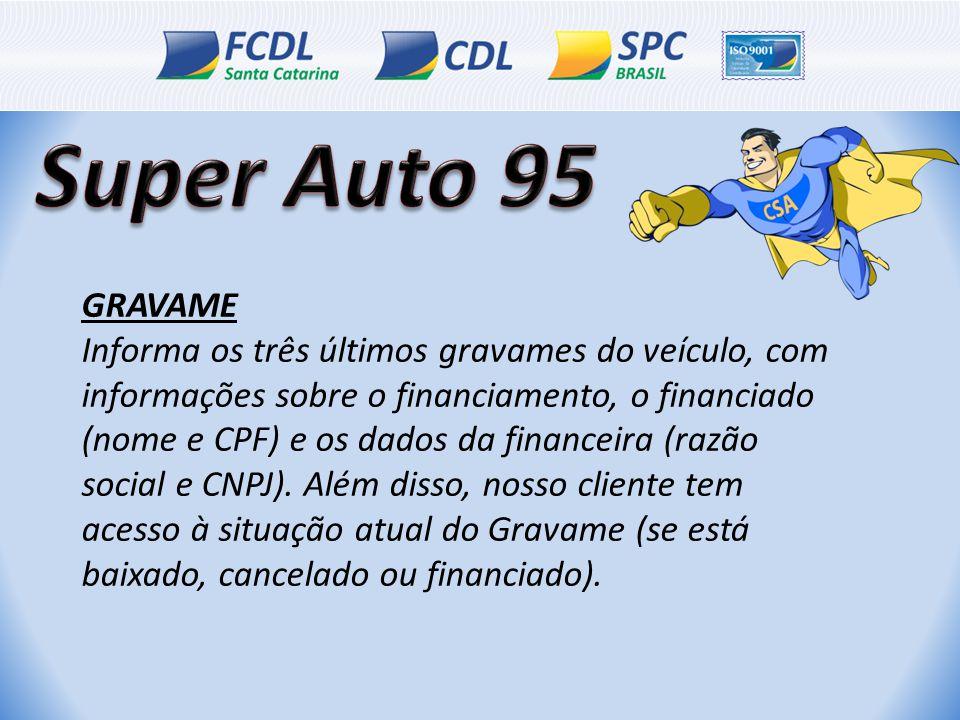 GRAVAME Informa os três últimos gravames do veículo, com informações sobre o financiamento, o financiado (nome e CPF) e os dados da financeira (razão social e CNPJ).