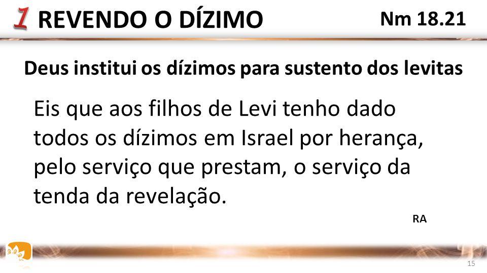 Eis que aos filhos de Levi tenho dado todos os dízimos em Israel por herança, pelo serviço que prestam, o serviço da tenda da revelação.
