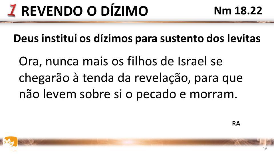Ora, nunca mais os filhos de Israel se chegarão à tenda da revelação, para que não levem sobre si o pecado e morram.
