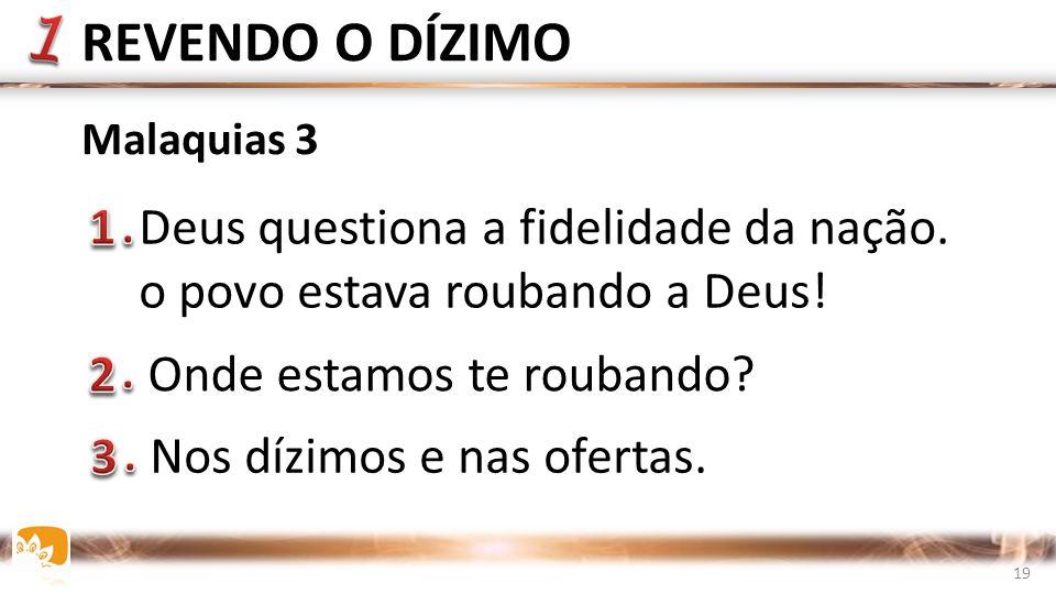 Deus questiona a fidelidade da nação.o povo estava roubando a Deus.
