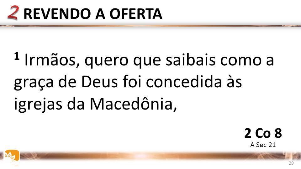 1 Irmãos, quero que saibais como a graça de Deus foi concedida às igrejas da Macedônia, REVENDO A OFERTA A Sec 21 2 Co 8 29