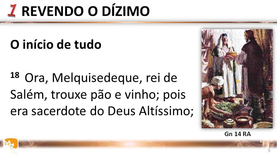 REVENDO O DÍZIMO O início de tudo 18 Ora, Melquisedeque, rei de Salém, trouxe pão e vinho; pois era sacerdote do Deus Altíssimo; Gn 14 RA 9