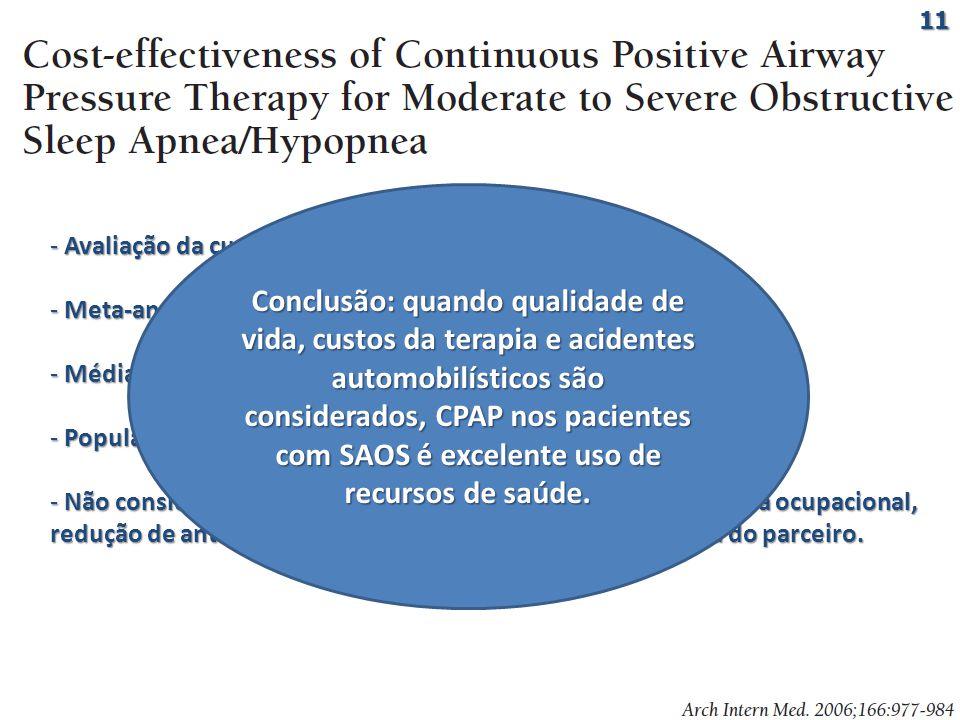 - Avaliação da custo-efetividade do CPAP x sem CPAP; - Meta-análise com modelo de 5 anos de Markov; - Média de IAH 37-60/h; - População homogênea; - Não considerado: produtividade no trabalho, redução de injúria ocupacional, redução de anti-hipertensivos, melhora da qualidade de vida do parceiro.