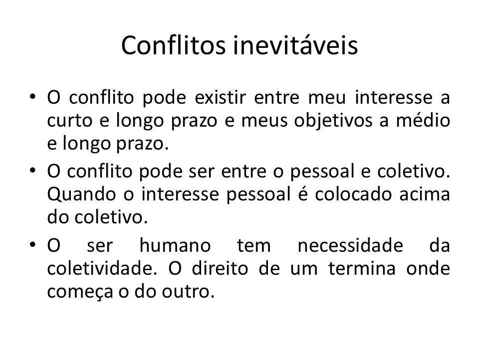 Conflitos inevitáveis O conflito pode existir entre meu interesse a curto e longo prazo e meus objetivos a médio e longo prazo. O conflito pode ser en