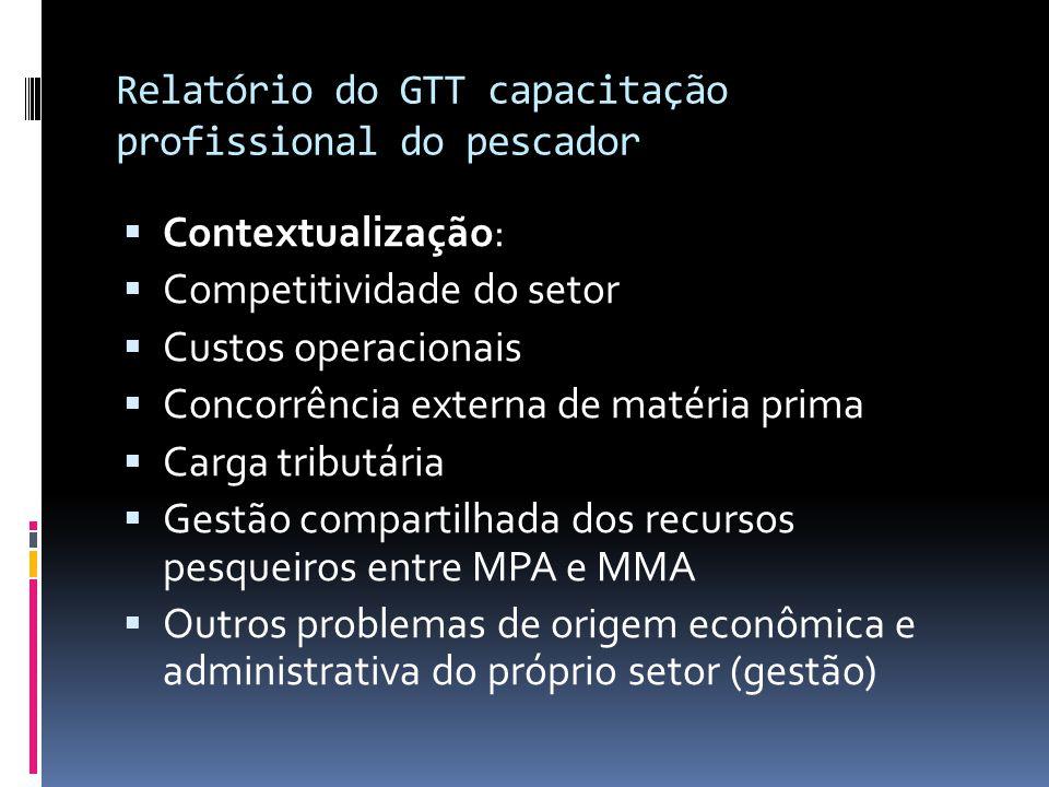 Relatório do GTT capacitação profissional do pescador  Contextualização:  Competitividade do setor  Custos operacionais  Concorrência externa de m
