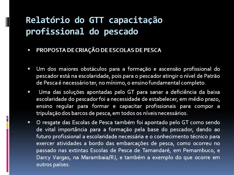 Relatório do GTT capacitação profissional do pescado  PROPOSTA DE CRIAÇÃO DE ESCOLAS DE PESCA  Um dos maiores obstáculos para a formação e ascensão