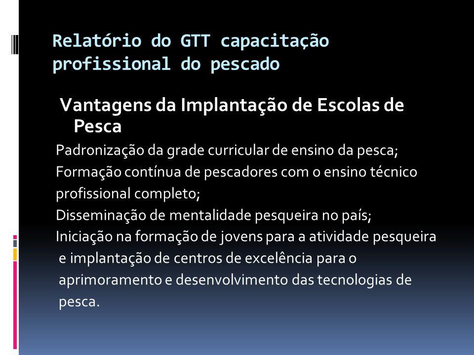 Relatório do GTT capacitação profissional do pescado Vantagens da Implantação de Escolas de Pesca Padronização da grade curricular de ensino da pesca;