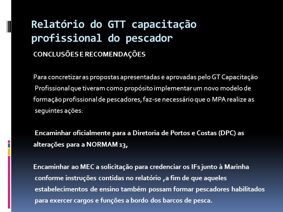 Relatório do GTT capacitação profissional do pescador CONCLUSÕES E RECOMENDAÇÕES Para concretizar as propostas apresentadas e aprovadas pelo GT Capaci
