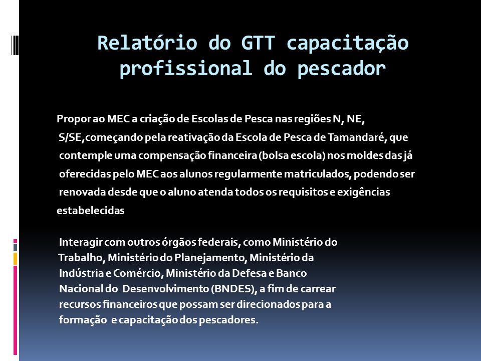 Relatório do GTT capacitação profissional do pescador Propor ao MEC a criação de Escolas de Pesca nas regiões N, NE, S/SE,começando pela reativação da