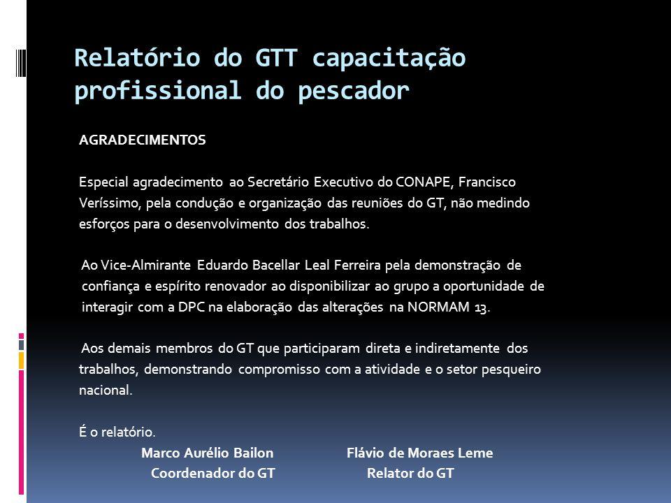 Relatório do GTT capacitação profissional do pescador AGRADECIMENTOS Especial agradecimento ao Secretário Executivo do CONAPE, Francisco Veríssimo, pe