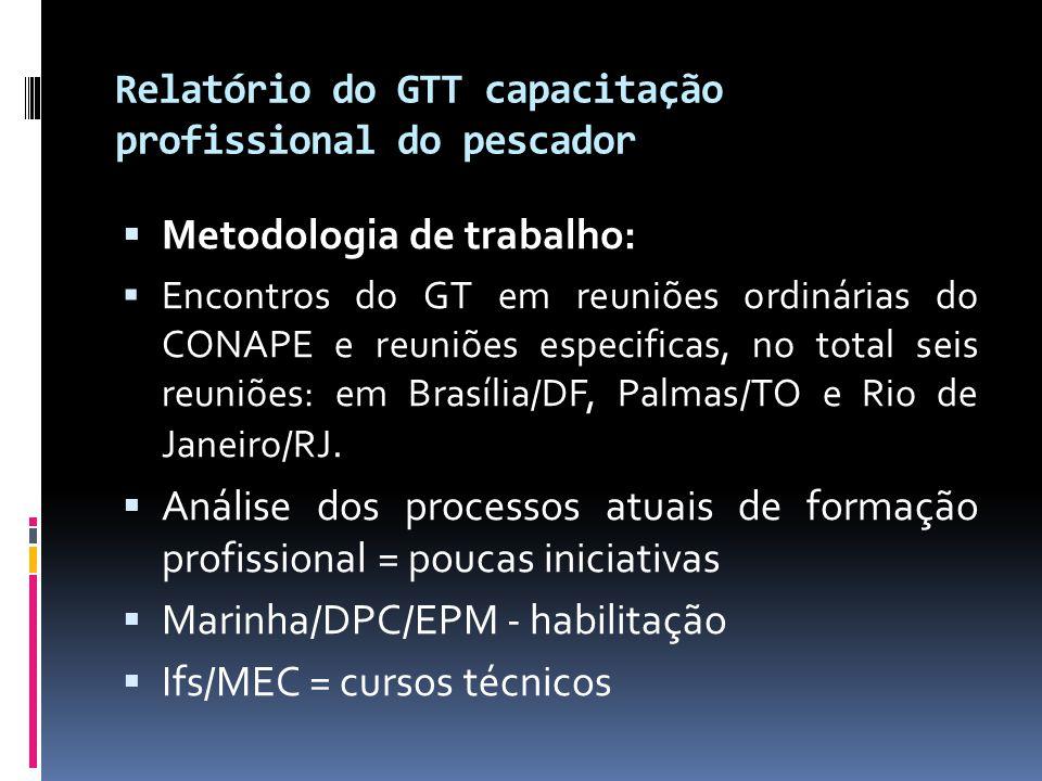 Relatório do GTT capacitação profissional do pescador  Metodologia de trabalho:  Encontros do GT em reuniões ordinárias do CONAPE e reuniões especif