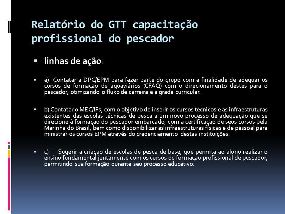 Relatório do GTT capacitação profissional do pescado  Interação entre o GT e a /DPC:  Integração da DPC ao GT - proporcionado ao setor pesqueiro, contribuir na formulação das alterações que estão sendo realizadas na NORMAM 13 com relação aos fluxos de carreira e a grade curricular dos cursos EPM  Discussão sobre o credenciamento de outras instituições  Alteração nos Fluxos de Carreira e grade curricular a ser submetida à DPC  Interação entre o GT e o MEC/IFs).