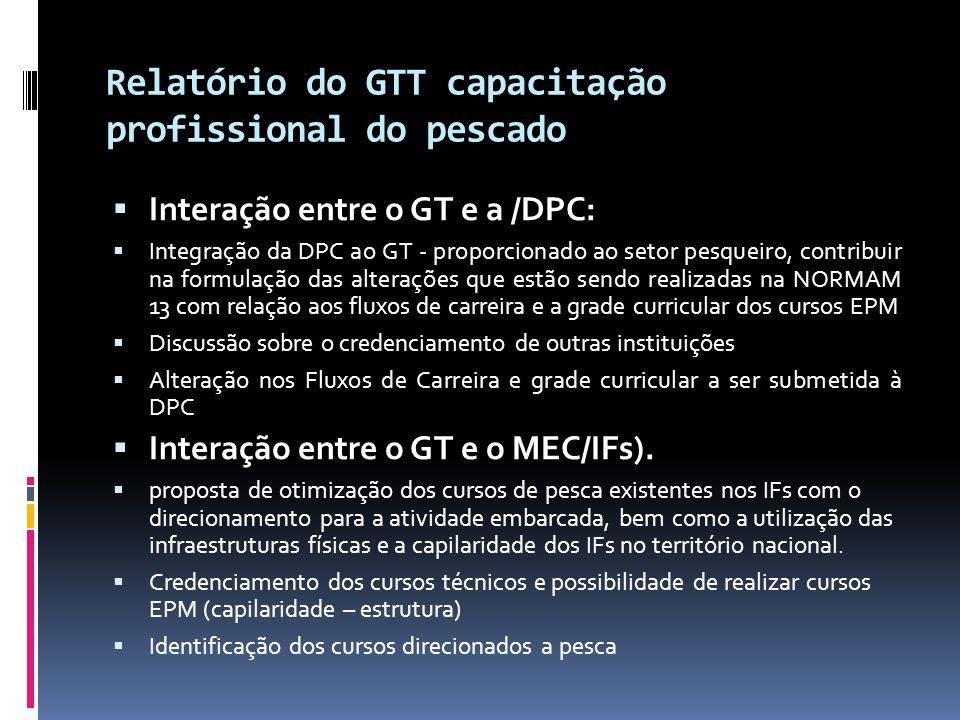 Relatório do GTT capacitação profissional do pescado  Interação entre o GT e a /DPC:  Integração da DPC ao GT - proporcionado ao setor pesqueiro, co