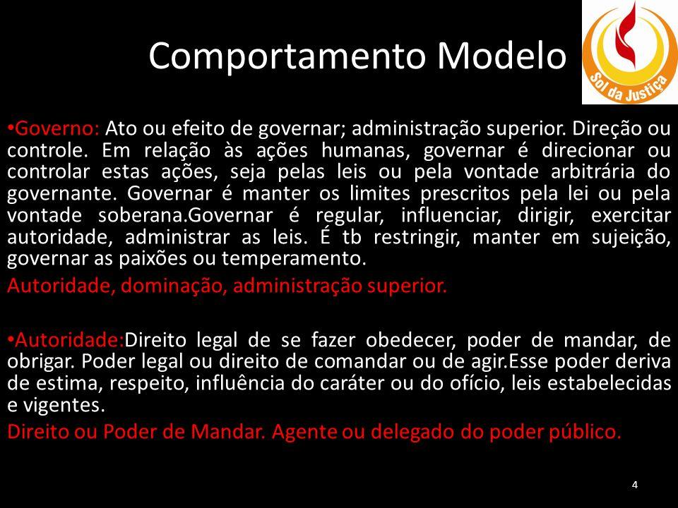 Comportamento Modelo Governo: Ato ou efeito de governar; administração superior.