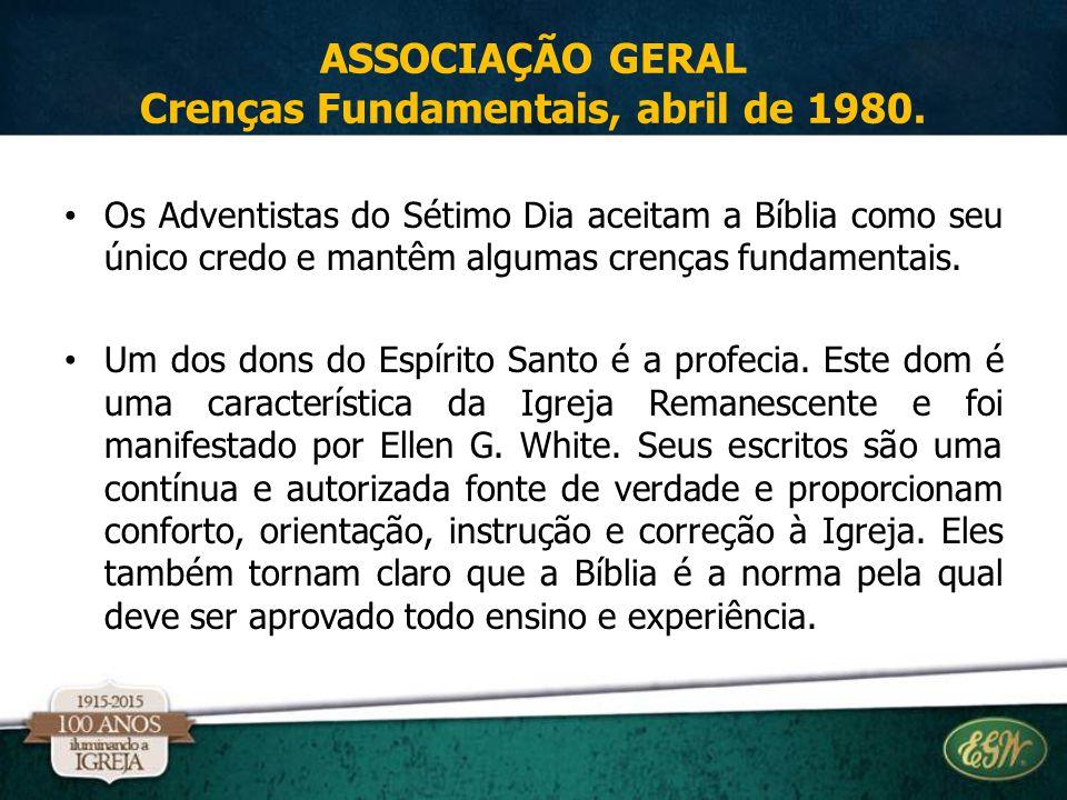 Os Adventistas do Sétimo Dia aceitam a Bíblia como seu único credo e mantêm algumas crenças fundamentais. Um dos dons do Espírito Santo é a profecia.
