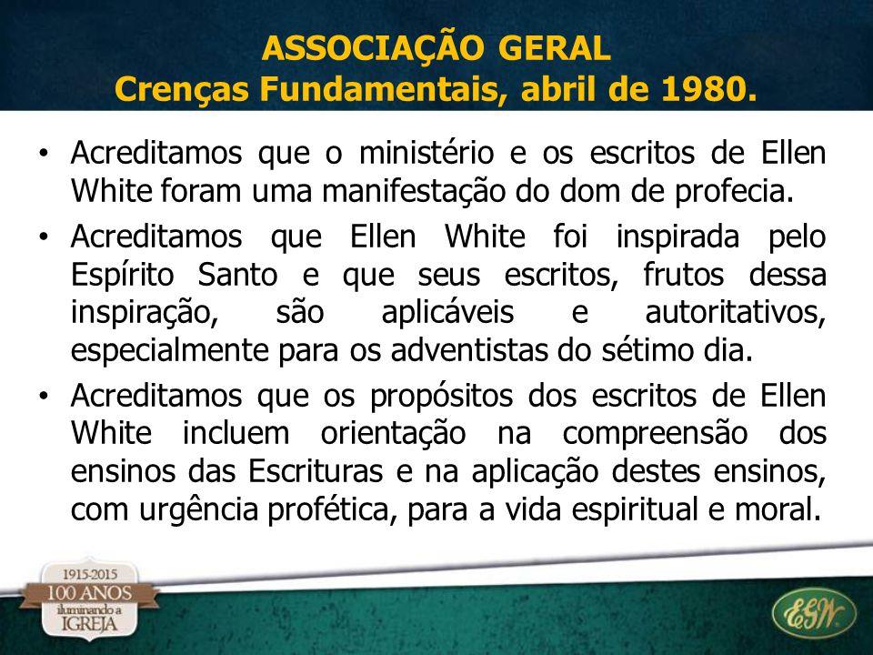 Acreditamos que o ministério e os escritos de Ellen White foram uma manifestação do dom de profecia. Acreditamos que Ellen White foi inspirada pelo Es