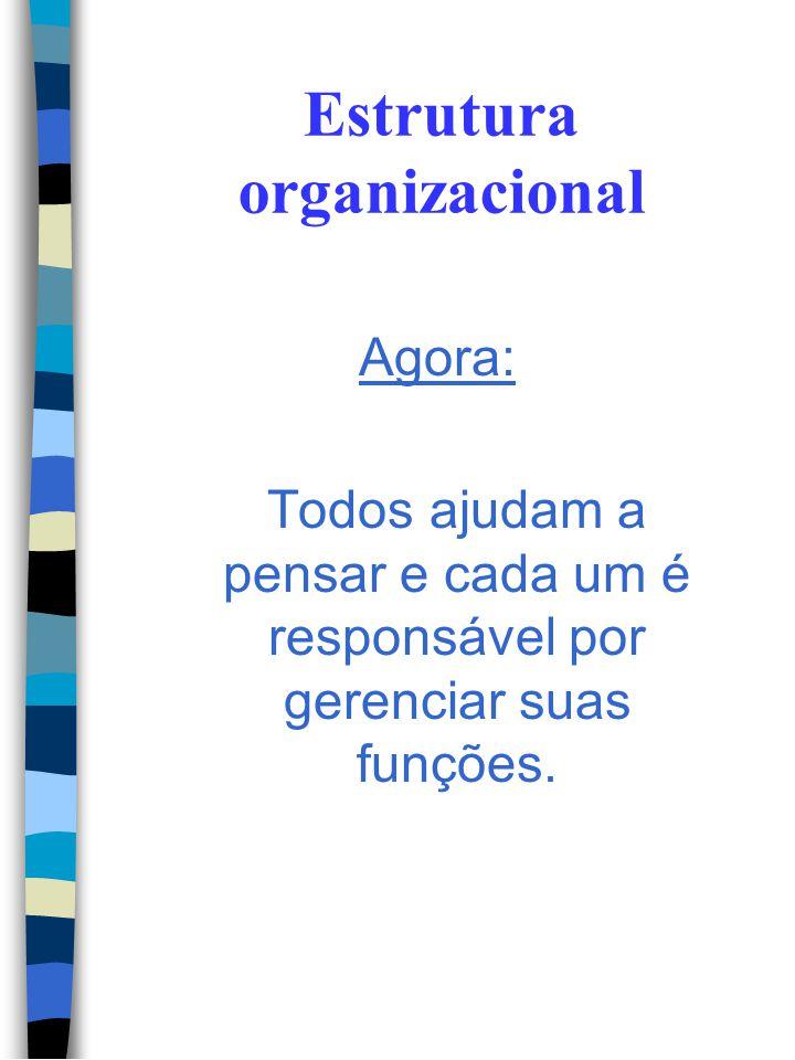 Estrutura organizacional Antes: - Direção – Pensava - Gerencias e Chefias – Cobravam - Nível operacional - Fazia