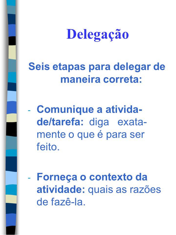 Delegação: Aspecto da delegação Gestão tradicional Gestão do Empowerment Por que delegar? Liberar o tempo da alto gerência para atividades nobres Dar