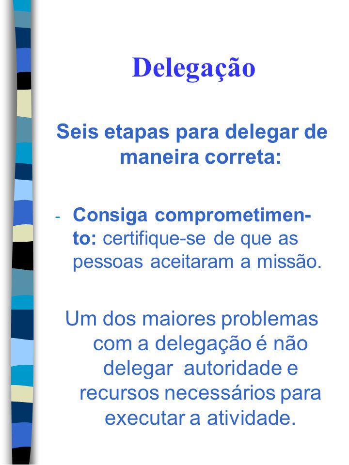 Delegação Seis etapas para delegar de maneira correta: - Outorgue autoridade: conceder a autoridade necessária. - Forneça suporte: indicar os recursos