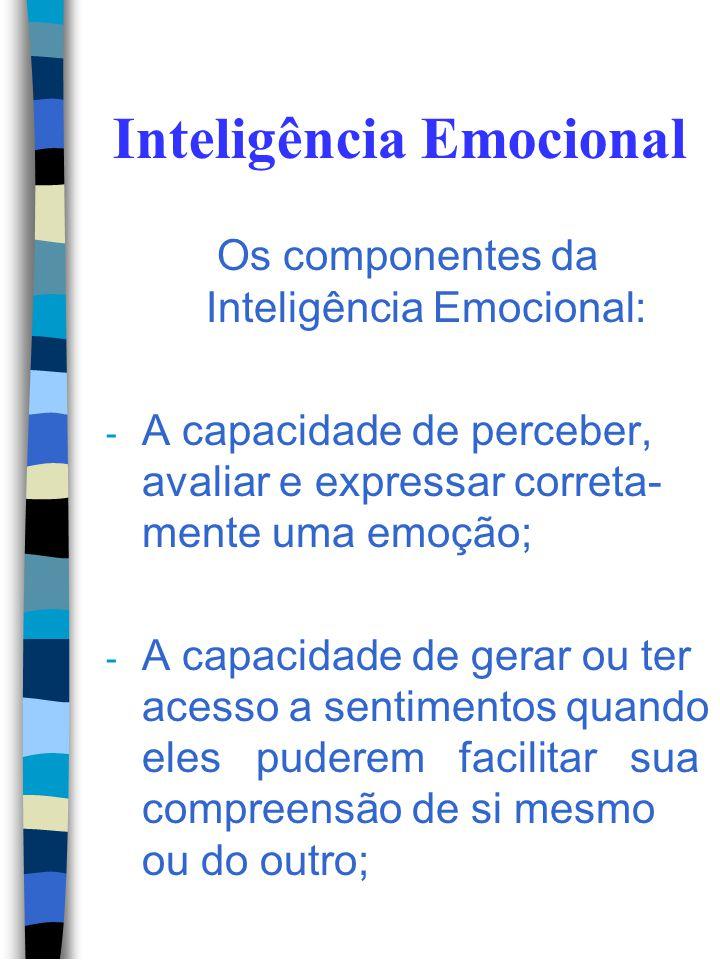 Inteligência Emocional A inteligência emocional é simplesmente o uso inteligente das emoções. Isto é fazer, intencionalmente, com que suas emoções tra
