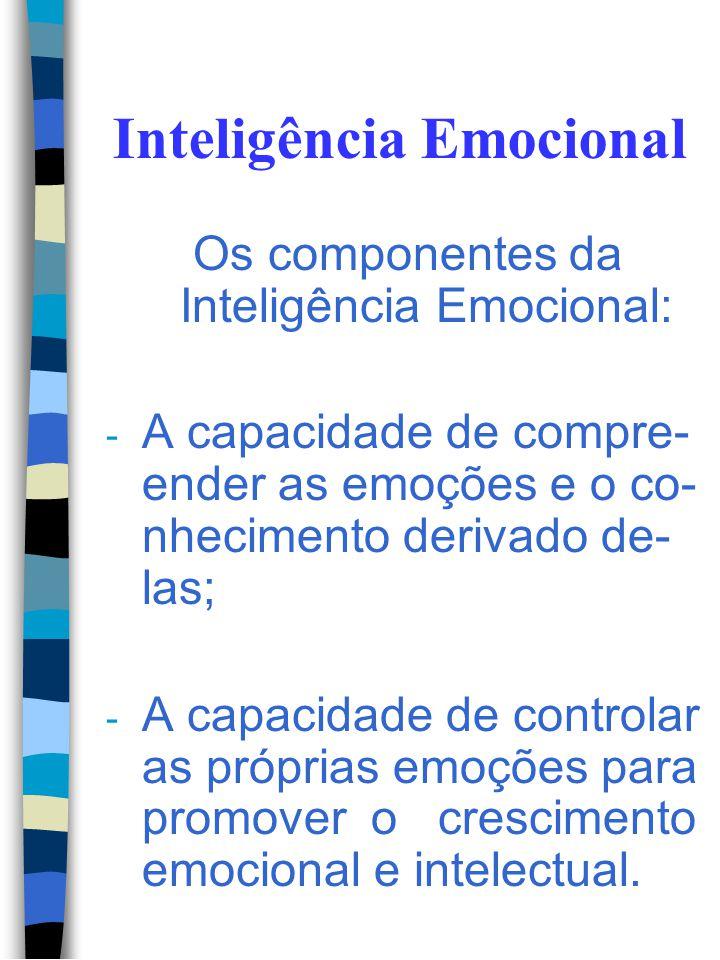 Inteligência Emocional Os componentes da Inteligência Emocional: - A capacidade de perceber, avaliar e expressar correta- mente uma emoção; - A capaci