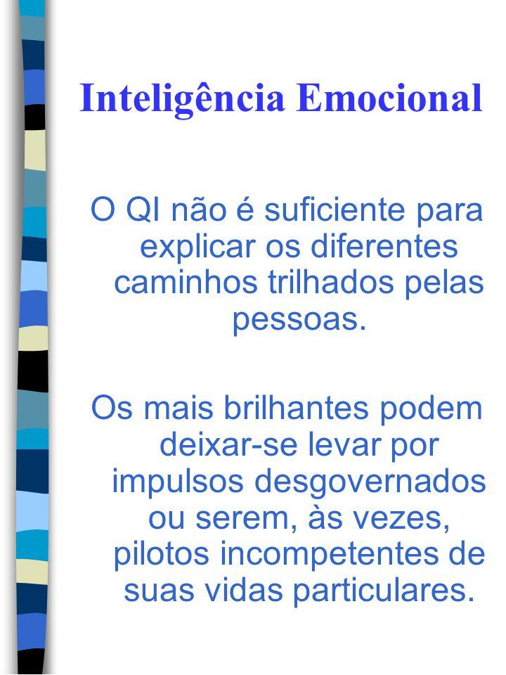 Inteligência Emocional Os componentes da Inteligência Emocional: - A capacidade de compre- ender as emoções e o co- nhecimento derivado de- las; - A c