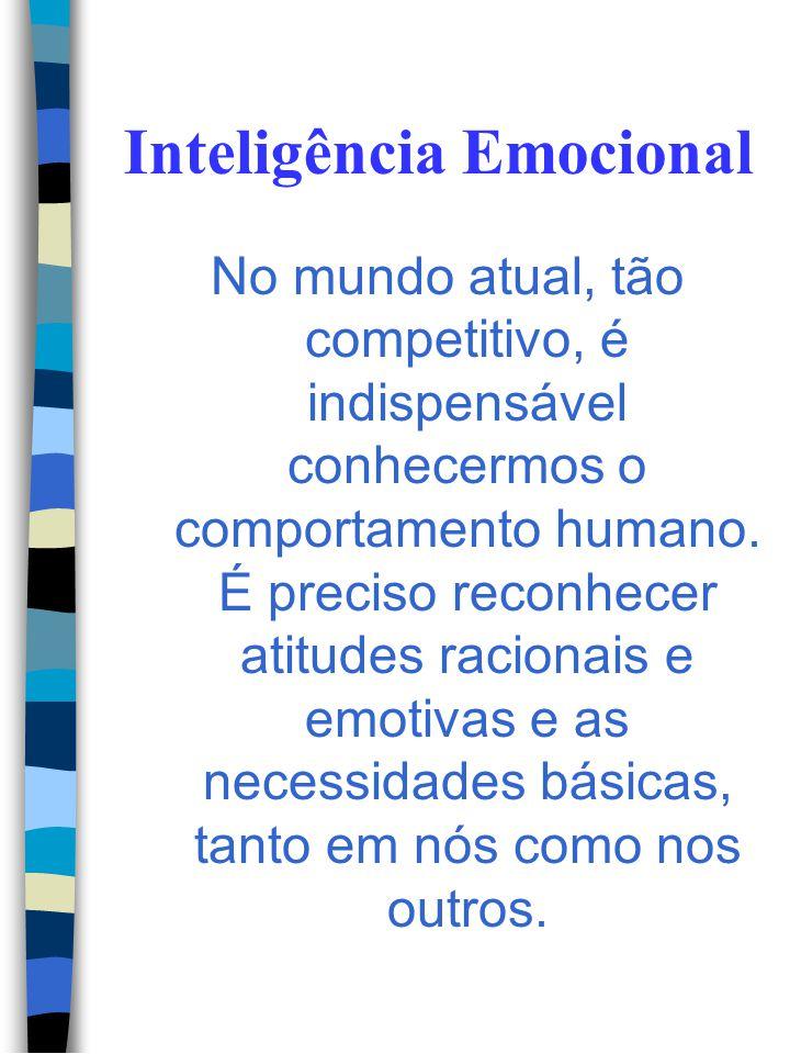 Inteligência Emocional As pessoas com inteligência emocional são otimistas, tem auto- estima, são capazes de entender as outras pessoas de modo empáti