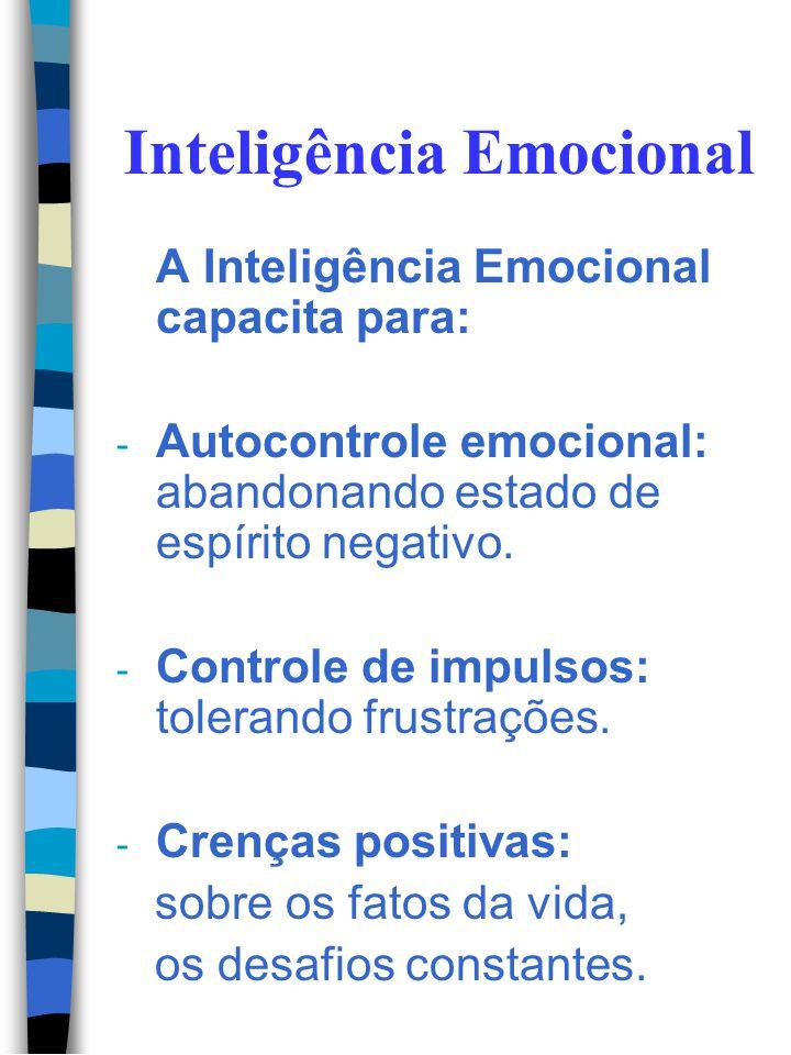 Inteligência Emocional Habilidades que precisamos ter: - Auto-conhecimento que permite a autocrítica. - Ter coragem para assumir responsabilidades pel