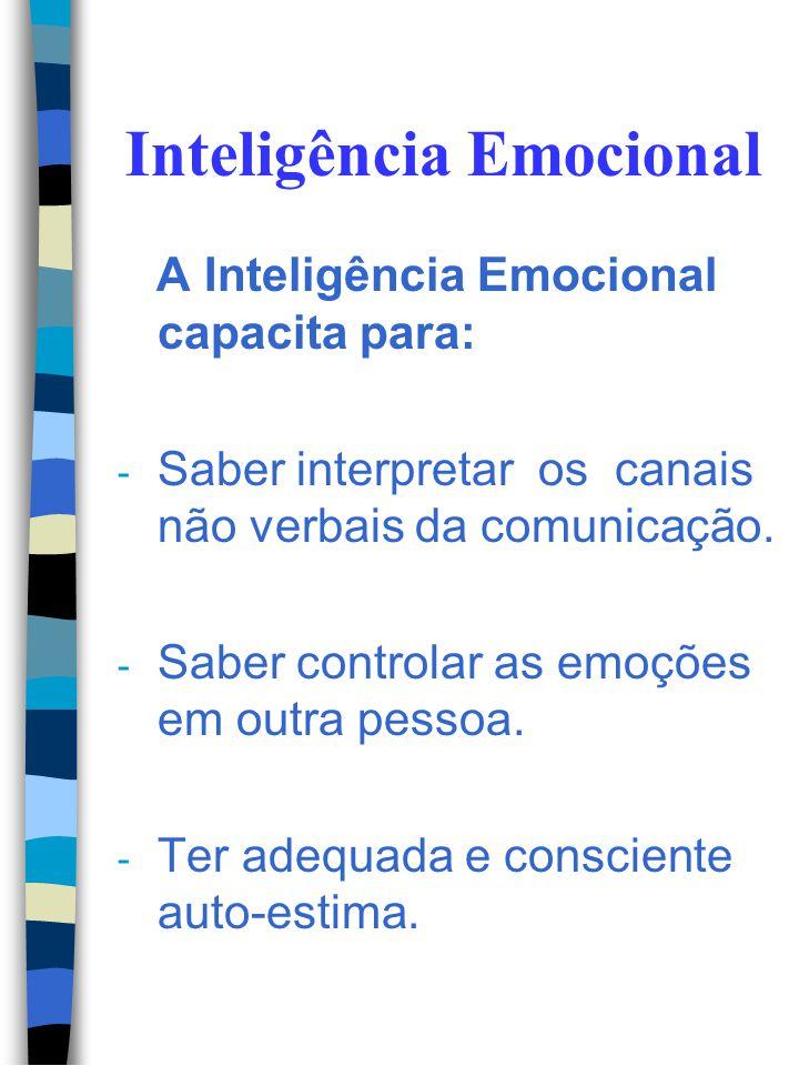 Inteligência Emocional A Inteligência Emocional capacita para: - Autocontrole emocional: abandonando estado de espírito negativo. - Controle de impuls