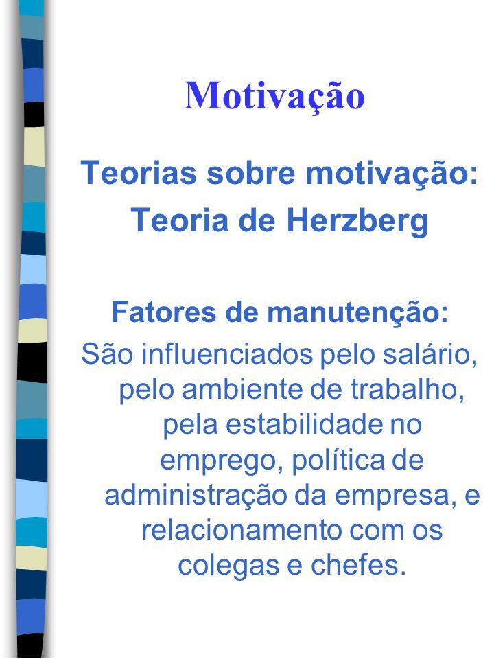 Motivação Teorias sobre motivação: Teoria de Herzberg Classificou os fatores que influenciam o comportamento das pessoas no trabalho em duas categoria