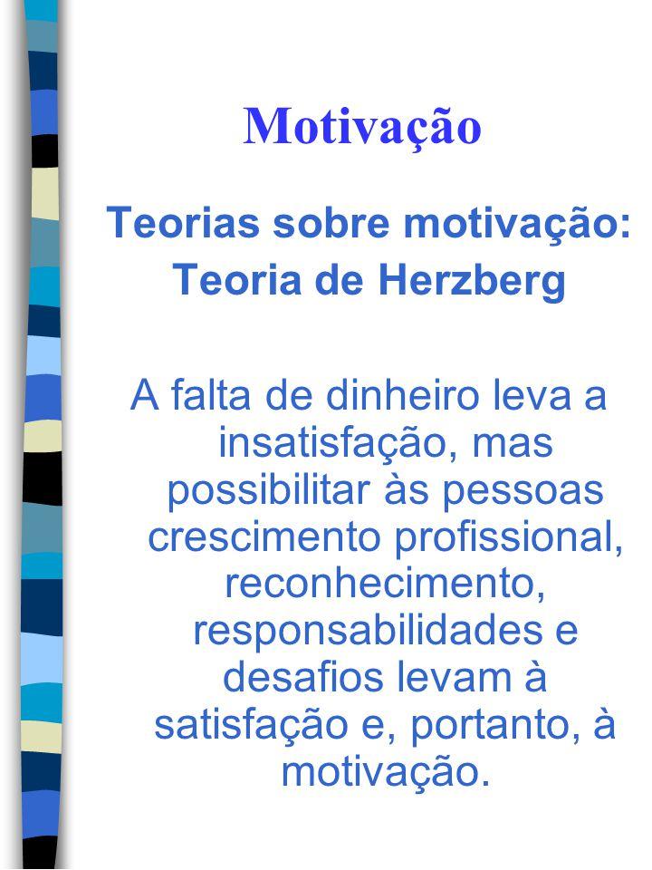 Motivação Teorias sobre motivação: Teoria de Herzberg Fatores de motivação: São influenciados pelas responsabilidades pes- soais, realizações, desa- f