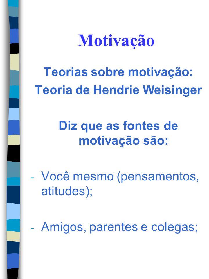 Motivação Teorias sobre motivação: Teoria de Herzberg A falta de dinheiro leva a insatisfação, mas possibilitar às pessoas crescimento profissional, r