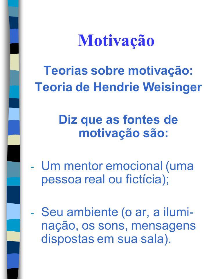 Motivação Teorias sobre motivação: Teoria de Hendrie Weisinger Diz que as fontes de motivação são: - Você mesmo (pensamentos, atitudes); - Amigos, par