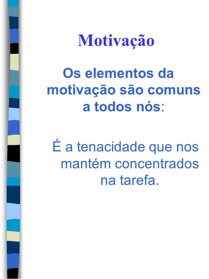 Motivação Os elementos da motivação são comuns a todos nós: É o otimismo que nos dá a esperança de que o desfecho terá uma solução positiva.