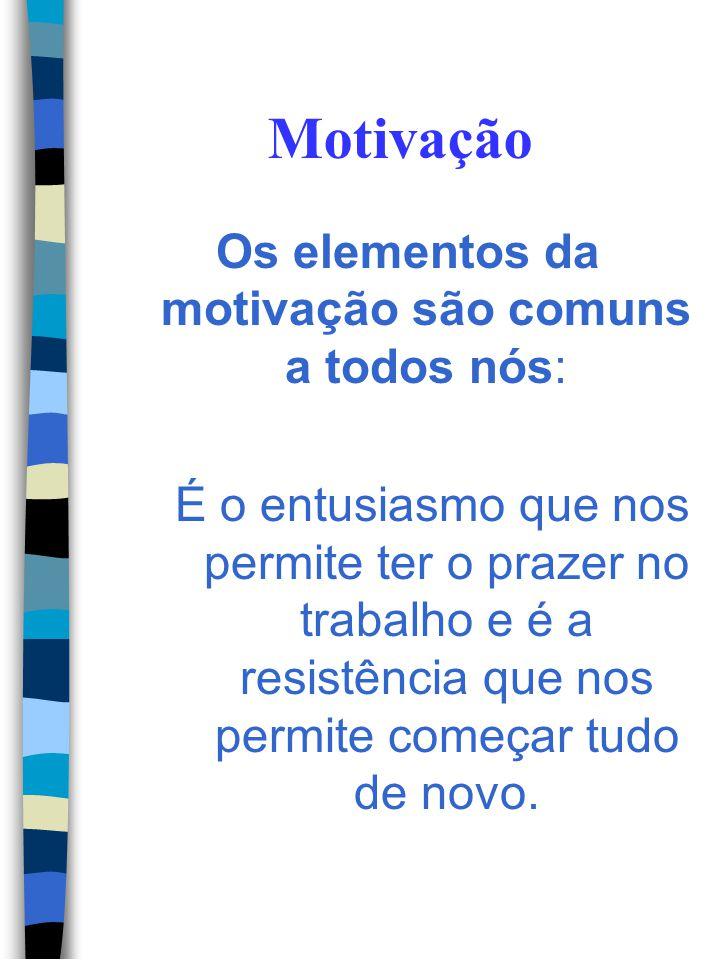 Motivação Os elementos da motivação são comuns a todos nós: É a tenacidade que nos mantém concentrados na tarefa.