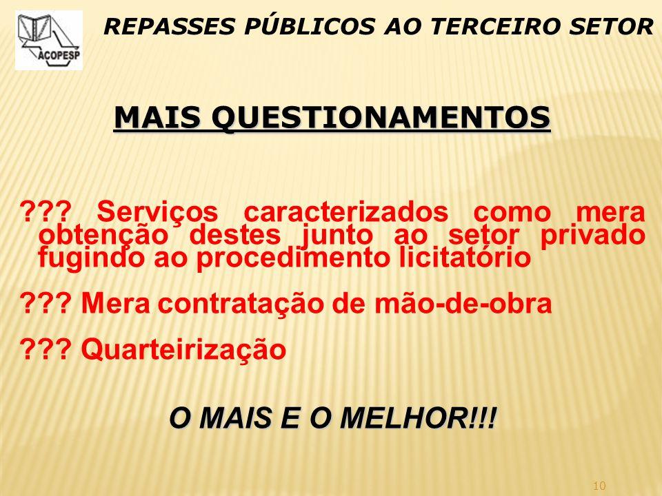 10 REPASSES PÚBLICOS AO TERCEIRO SETOR MAIS QUESTIONAMENTOS ??? Serviços caracterizados como mera obtenção destes junto ao setor privado fugindo ao pr