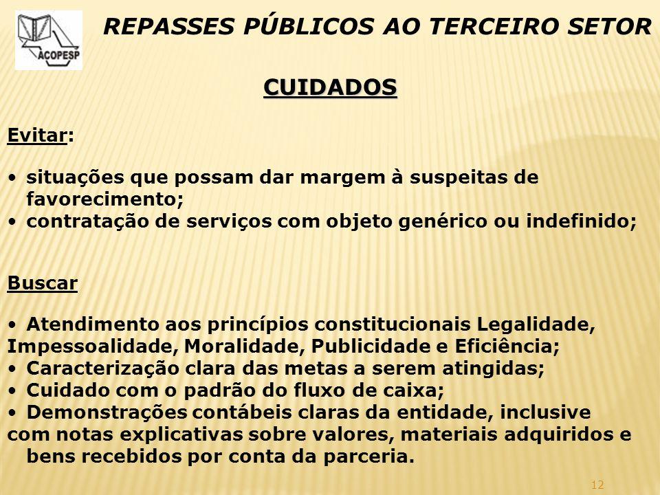 12 REPASSES PÚBLICOS AO TERCEIRO SETOR CUIDADOS Evitar: situações que possam dar margem à suspeitas de favorecimento; contratação de serviços com obje