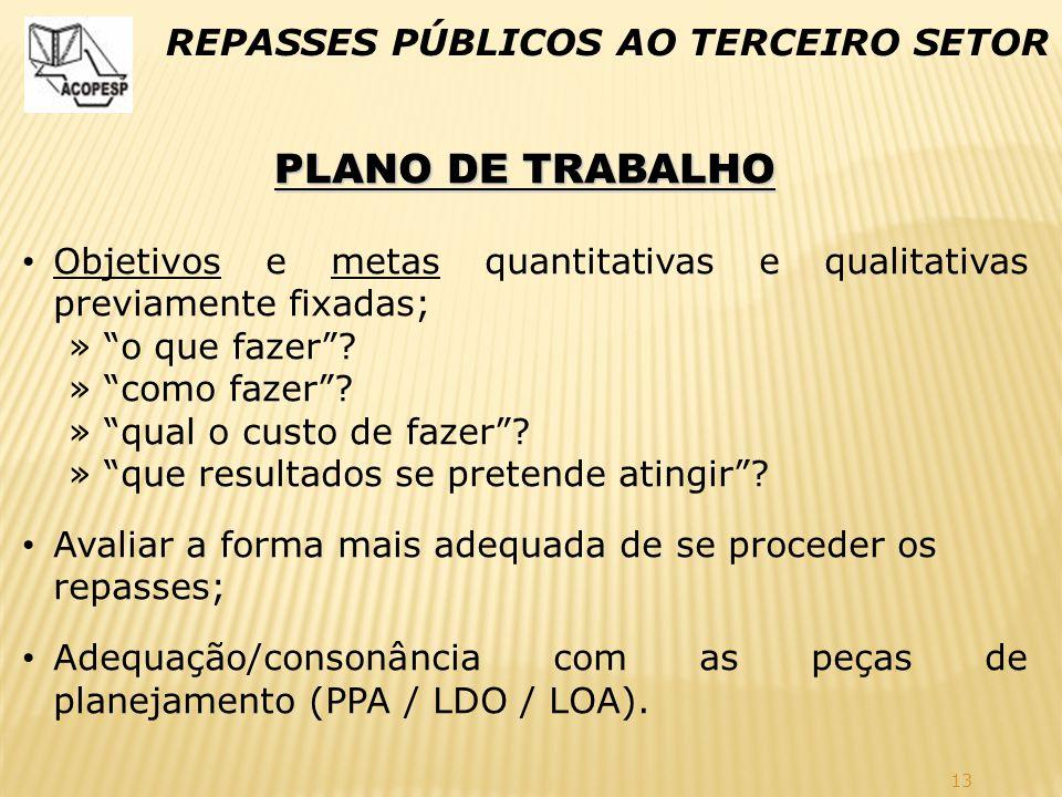 """13 REPASSES PÚBLICOS AO TERCEIRO SETOR PLANO DE TRABALHO Objetivos e metas quantitativas e qualitativas previamente fixadas; » """"o que fazer""""? » """"como"""