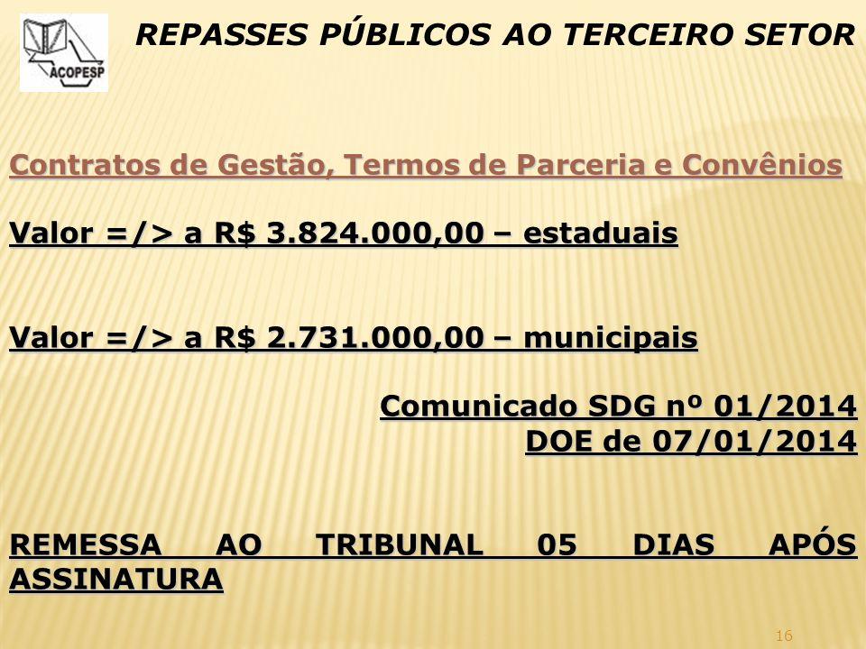 16 REPASSES PÚBLICOS AO TERCEIRO SETOR Contratos de Gestão, Termos de Parceria e Convênios Valor =/> a R$ 3.824.000,00 – estaduais Valor =/> a R$ 2.73
